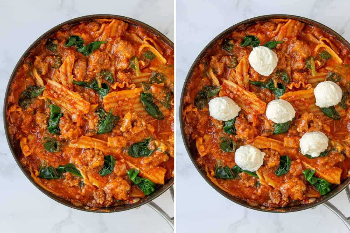 Two photos showing steps of adding spinach and ricotta to skillet lasagna.