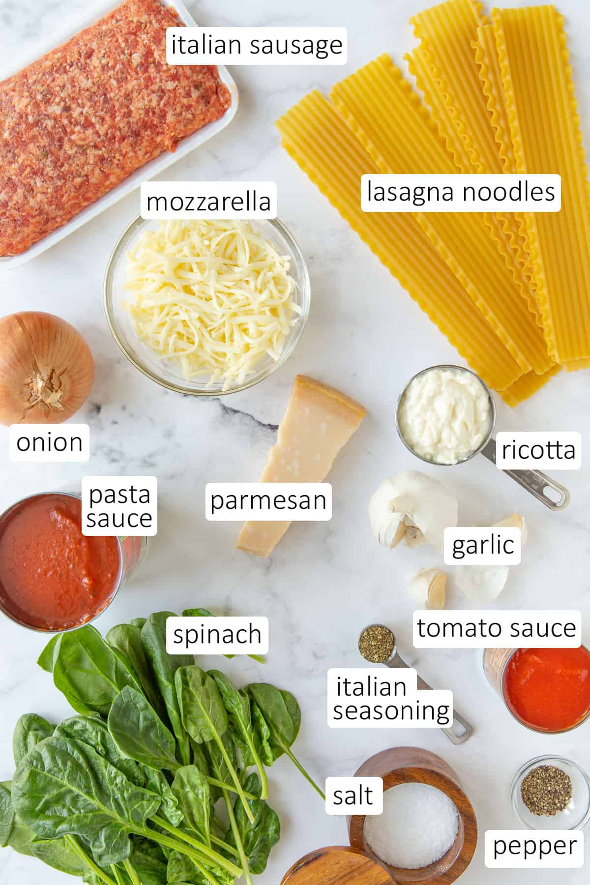 Overhead view of ingredients for skillet spinach lasagna.