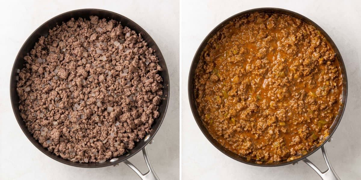 Showing steps of preparing ground beef mixture in a skillet for enchiladas.