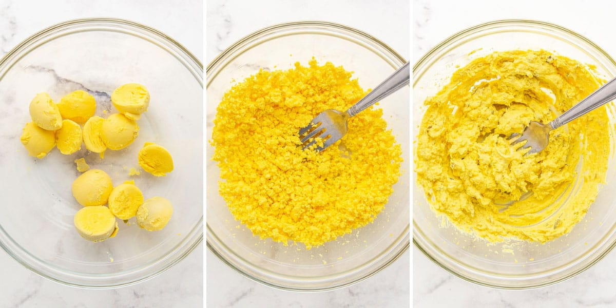Showing steps of preparing filling for southern style deviled eggs.
