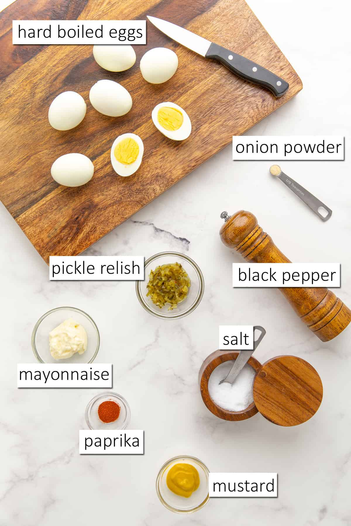 Overhead view of ingredients needed to make southern deviled eggs.