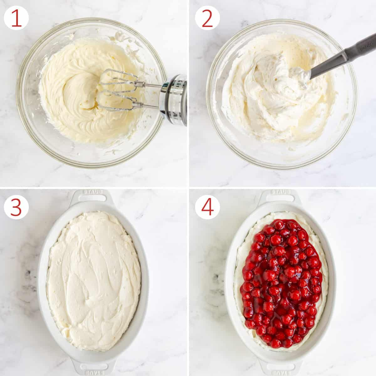 A collage showing steps of how to make no bake cherry cheesecake dip.