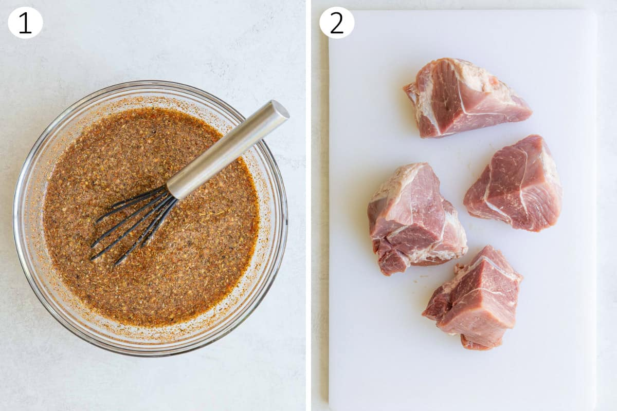 A collage of two photos showing how to make carnitas in the instant pot.