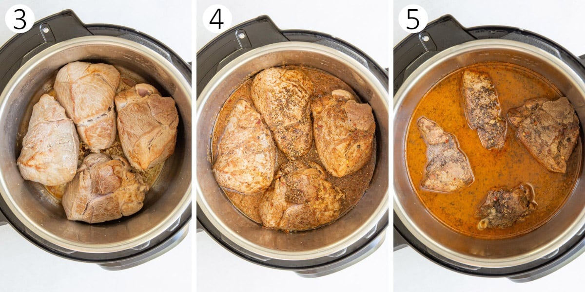 A collage of three images showing pork in a pressure cooker in steps for making carnitas.