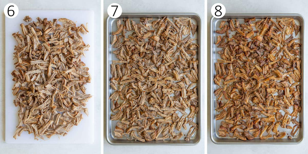 Three step by step photos of shredding and broiling pork for carnitas.