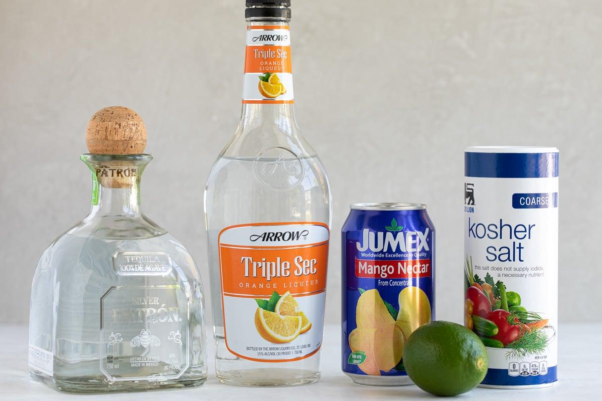 Ingredients needed for making mango margaritas.