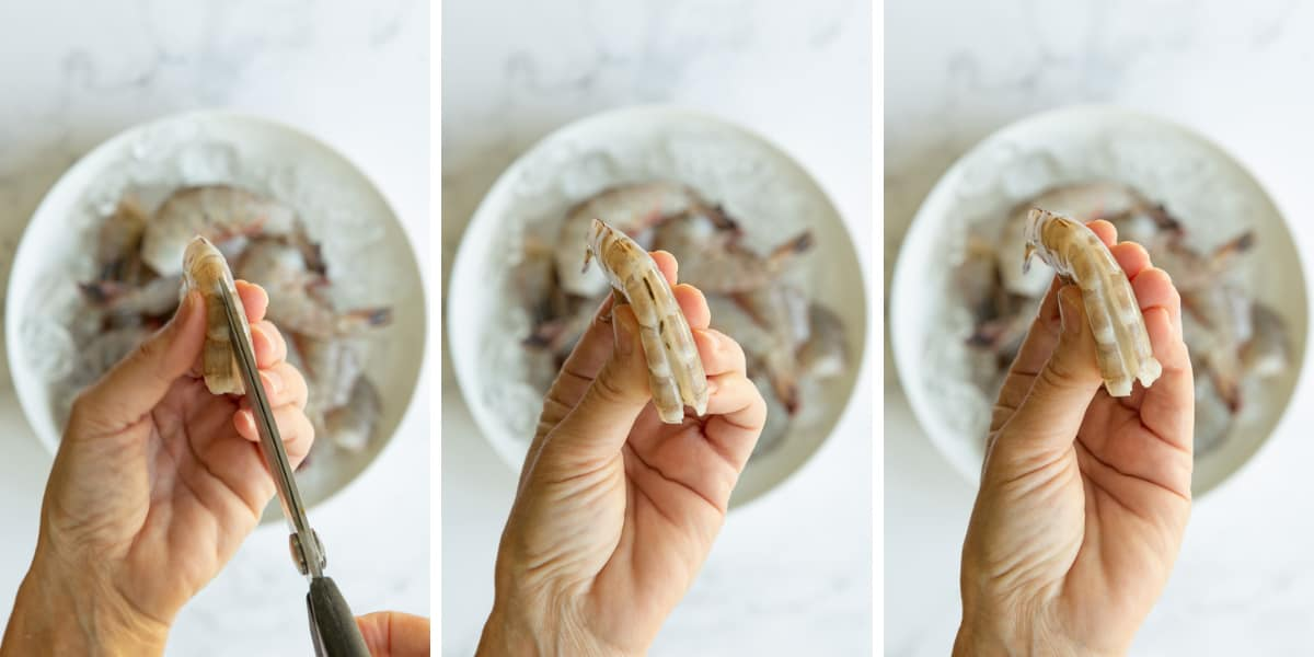 A collage of three images showing how to devein a shrimp with the shell on.