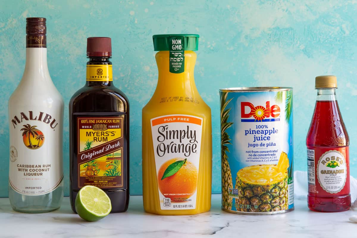 Front view of ingredients needed to make rum punch.