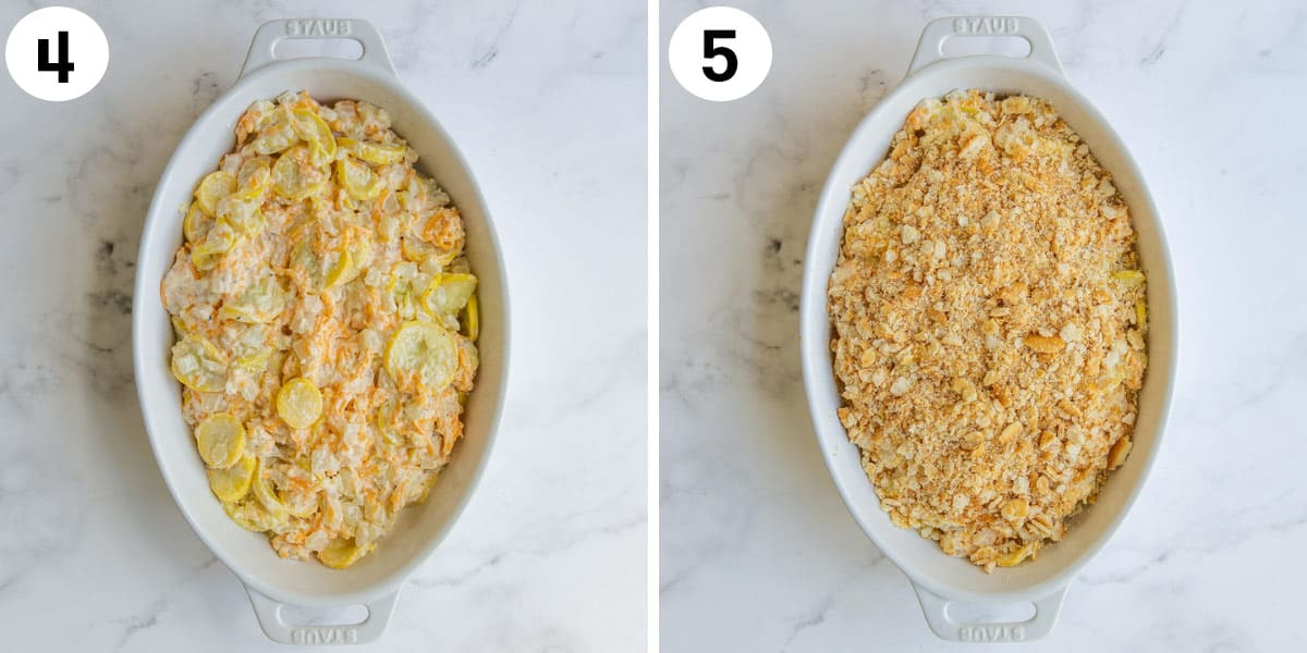 A photo collage showing how to make cheesy squash casserole.