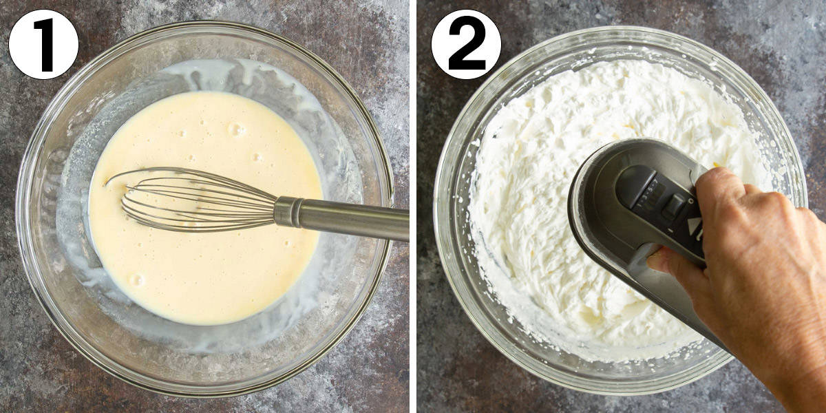 Two images showing steps of making no-churn ice cream.