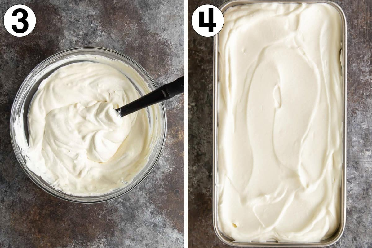 Two images showing the final steps in making no-churn ice cream.