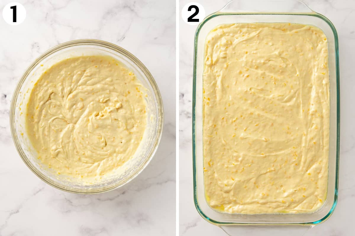 Two photos showing how to prepare batter for a pig picking cake.