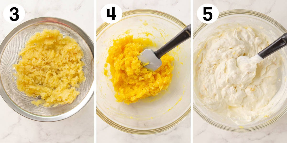 Three photos showing how to prepare frosting for a pig picking cake.