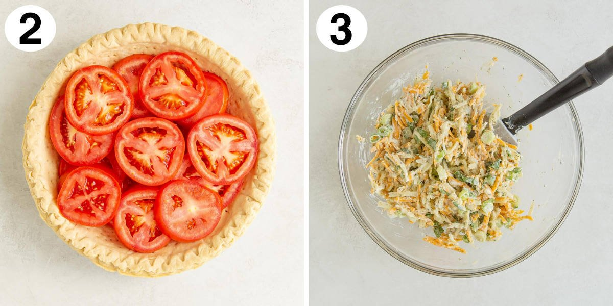 Two images showing steps of making tomato pie.