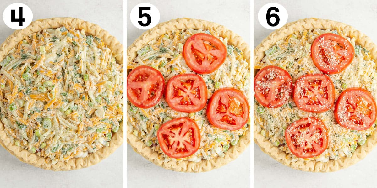 A three-image collage showing steps of making tomato pie.