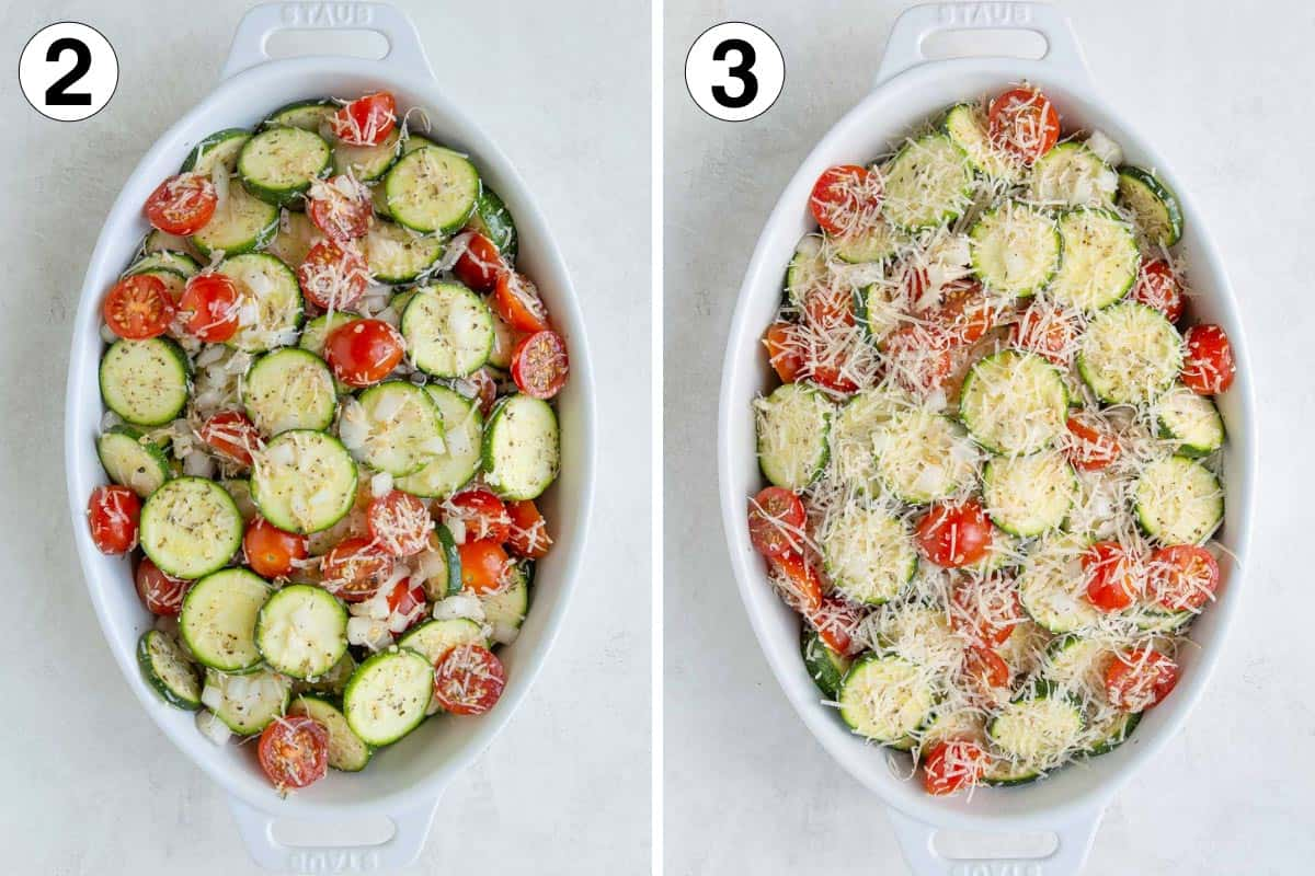 Two images showing steps of preparing zucchini tomato bake.