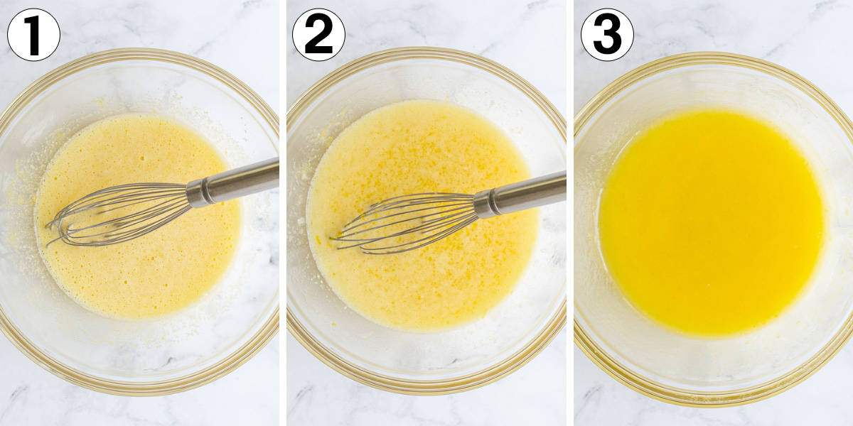 A collage of three images showing steps of making microwave lemon curd.