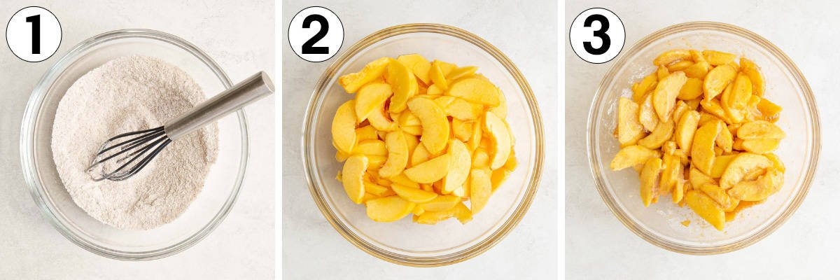 A collage of three numbered images showing steps in making peach crisp.