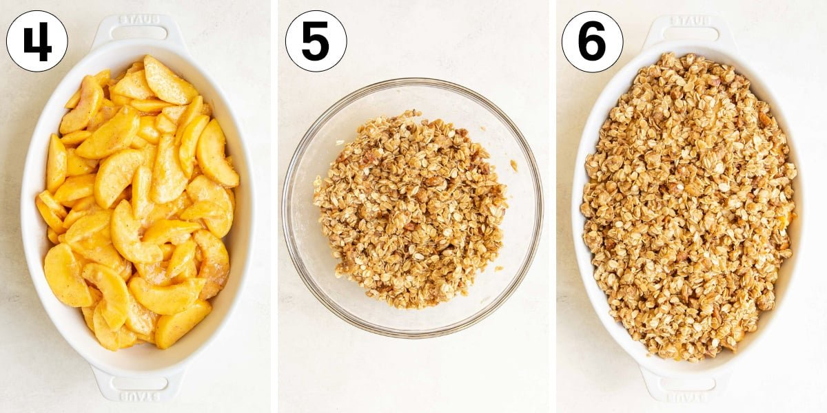 A collage of three images showing steps in making peach crisp.