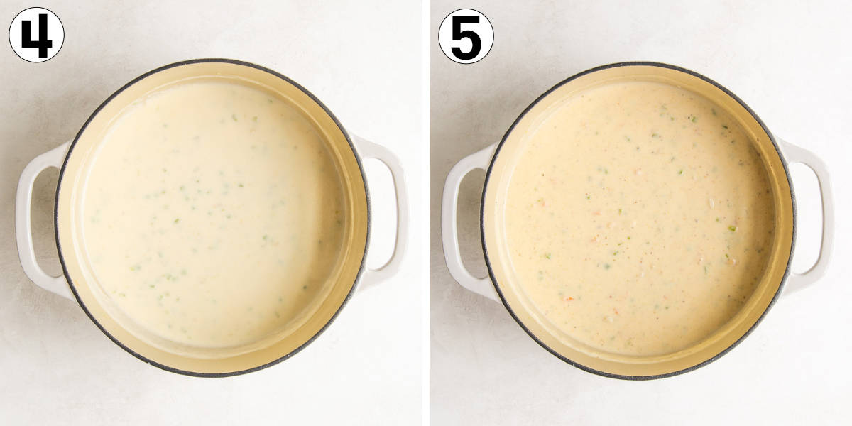 A collage of two images showing steps in making seafood bisque.