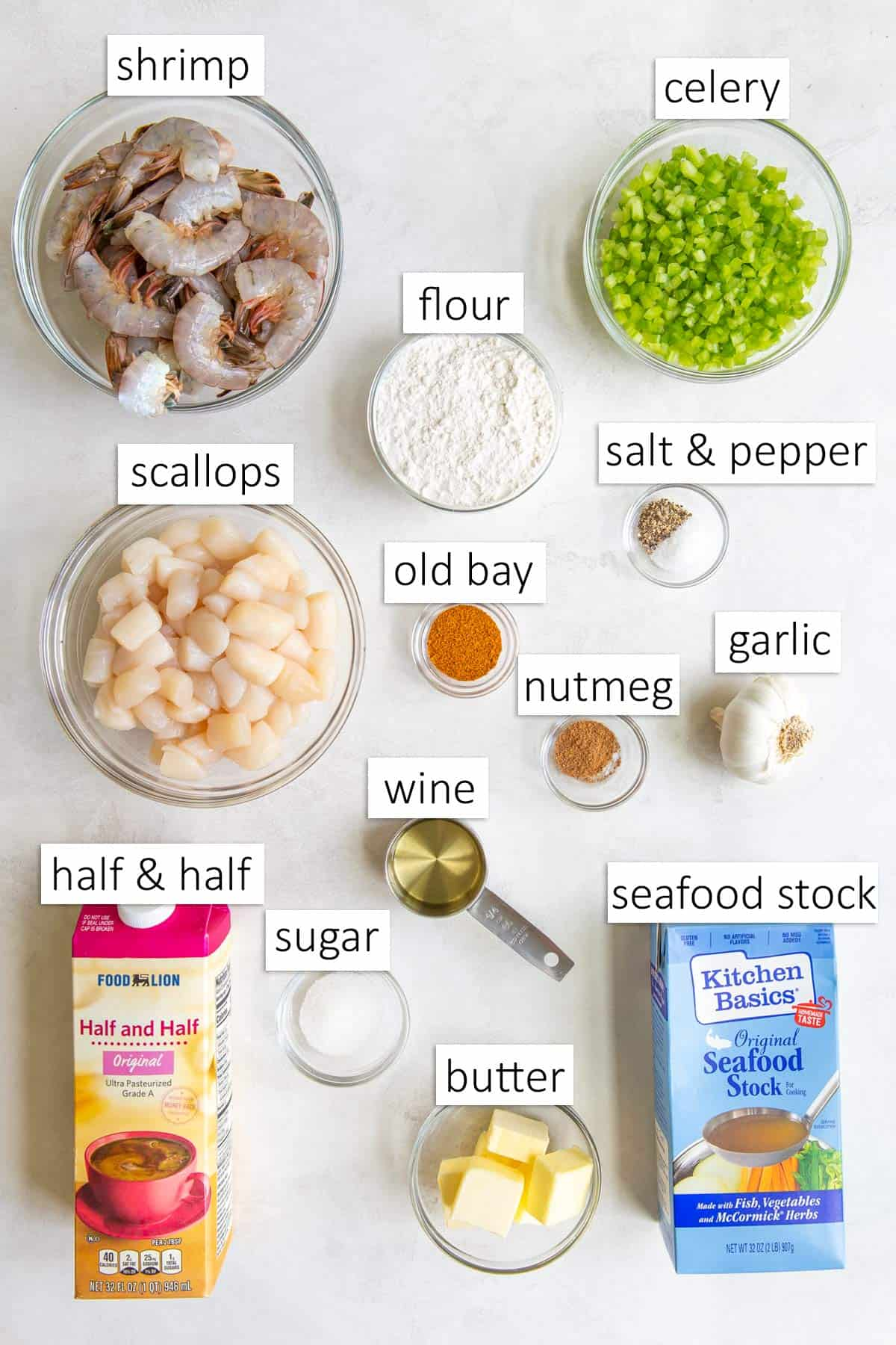 Overhead view of ingredients for making seafood bisque.