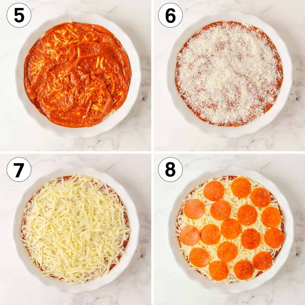 A collage of four images showing steps in making pizza dip.