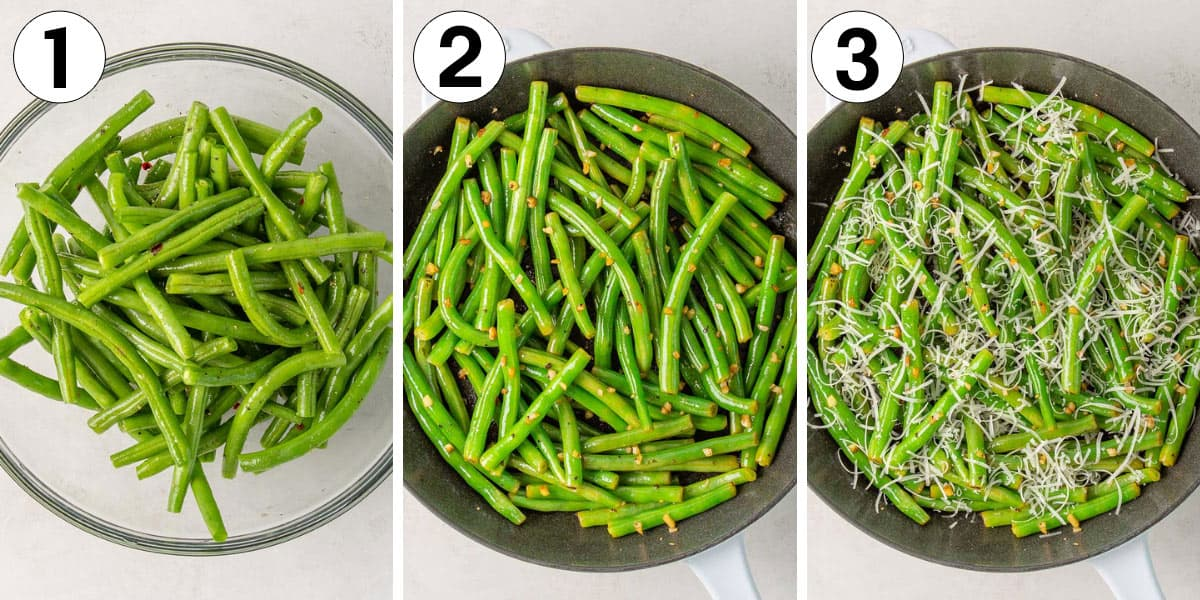 A collage of three images showing steps of making sautéed green beans with garlic and Parmesan.