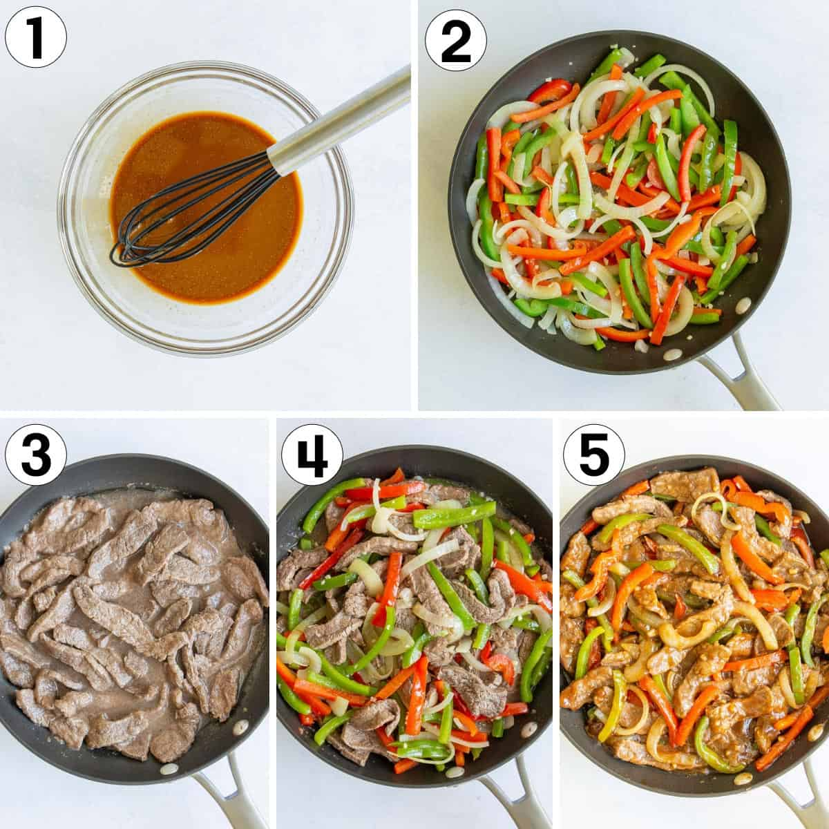 A collage of five images showing how to make Chinese pepper steak.
