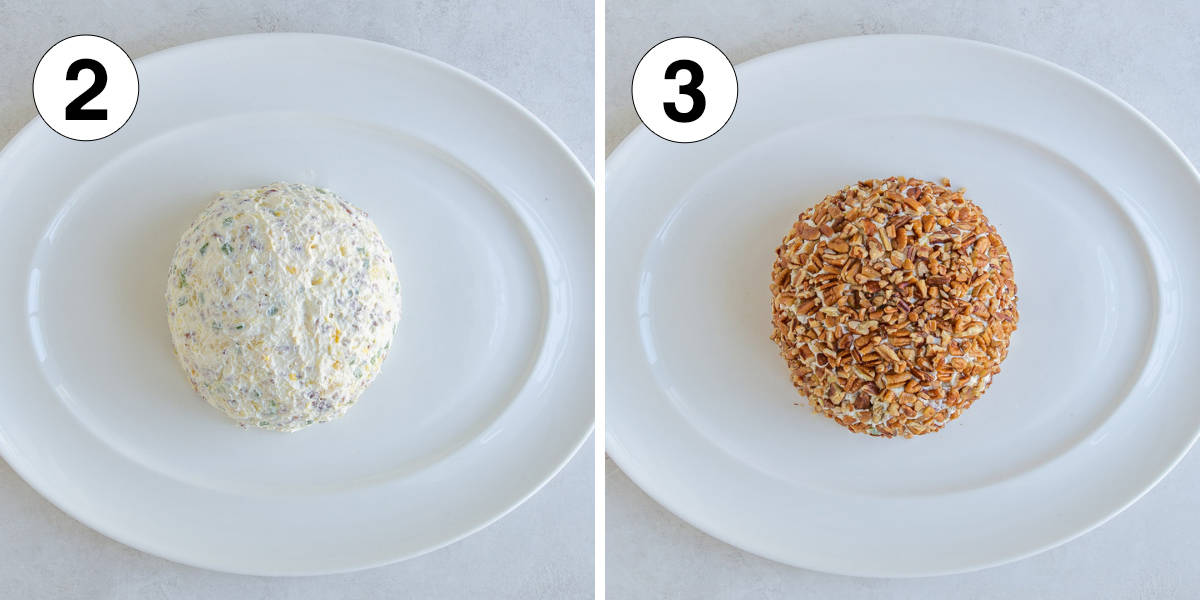 Two images showing a cheese ball on a platter before and after coating with pecans.