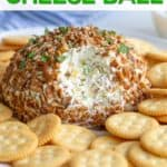 """A cheese ball on a platter with overlay text that reads, """"pineapple cheese ball""""."""