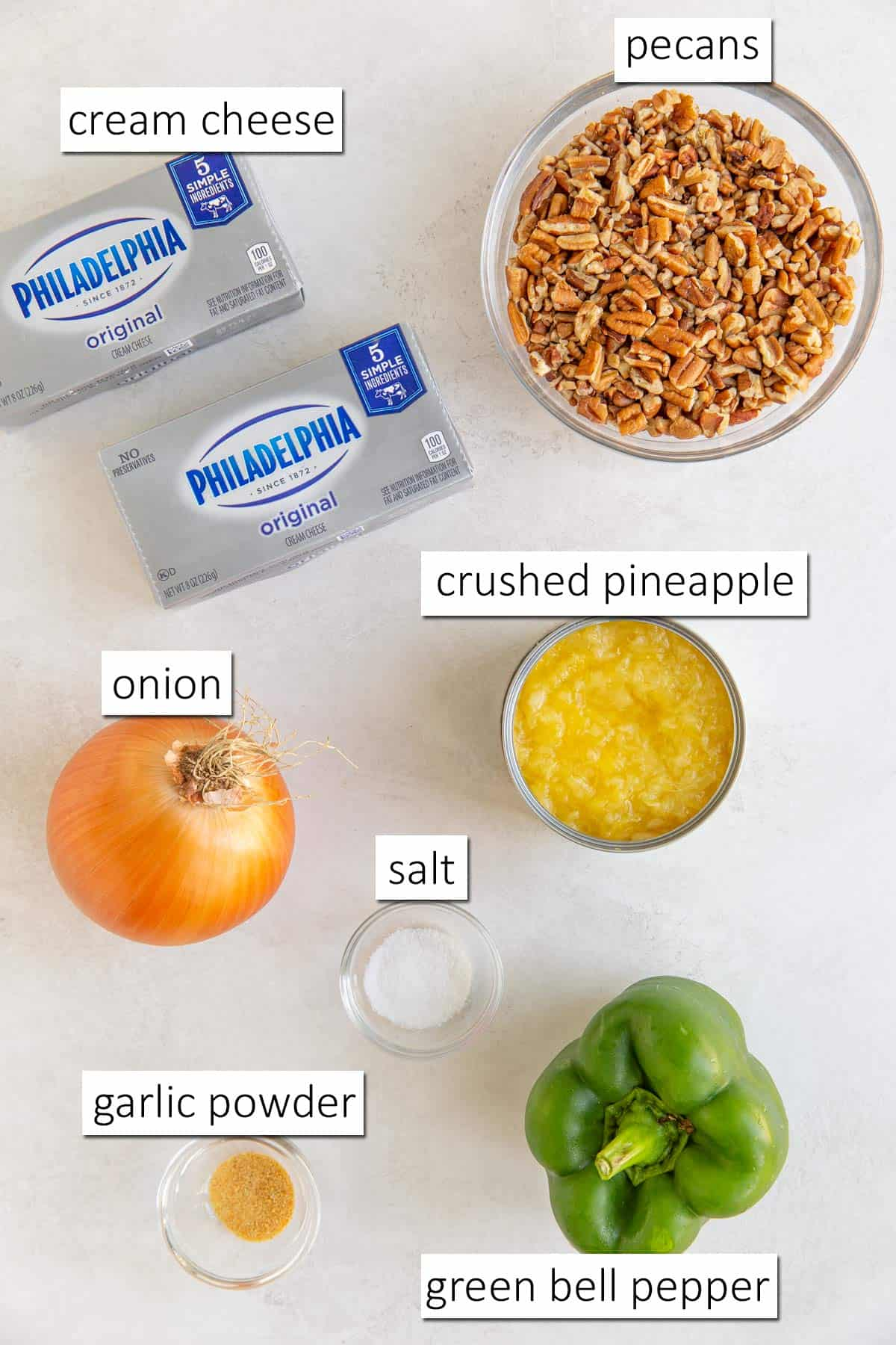 Overhead view of ingredients needed for making a pineapple cheese ball.